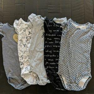 Lot of 5 Carter's flutter sleeve onesies